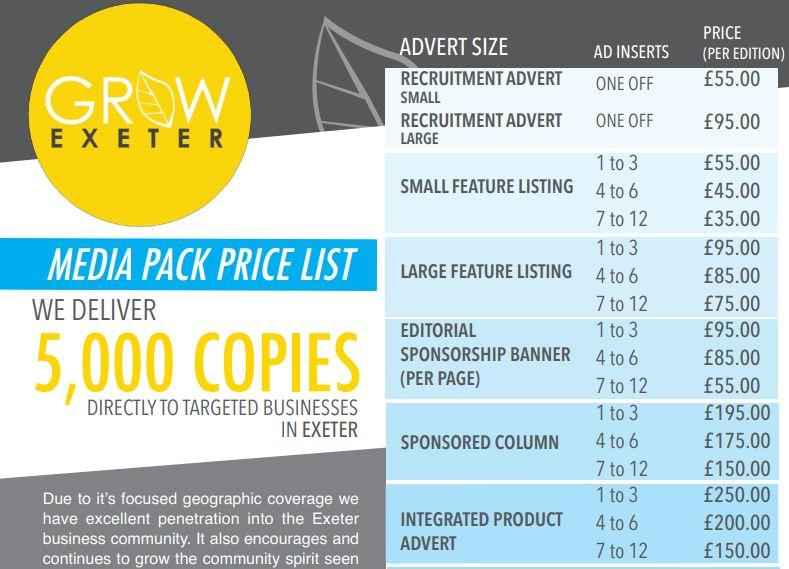 Media Rate Card – Grow Exeter Magazine