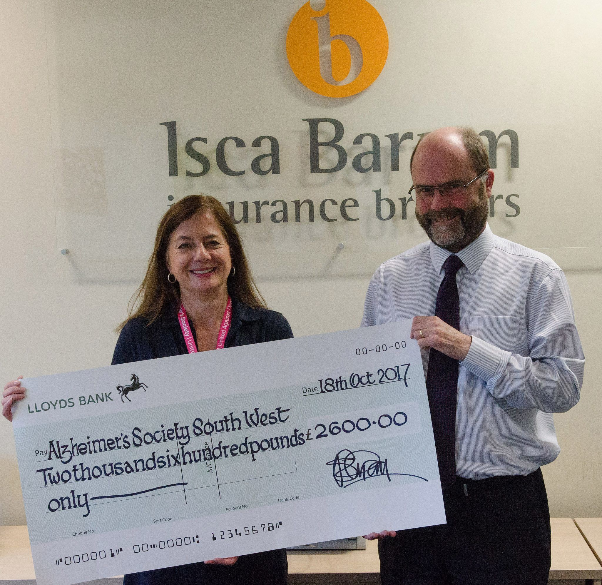 Local Business Raises £2,600 for the Alzheimer's Society