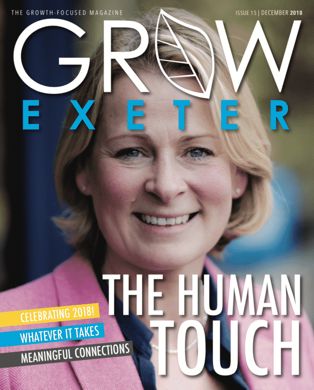 Victoria Graham, Presenter on BBC Spotlight News, on the front c over of Grow Exeter, December 2018