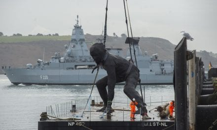 UK's Largest Cast Bronze Sculpture Messenger Arrives In Plymouth