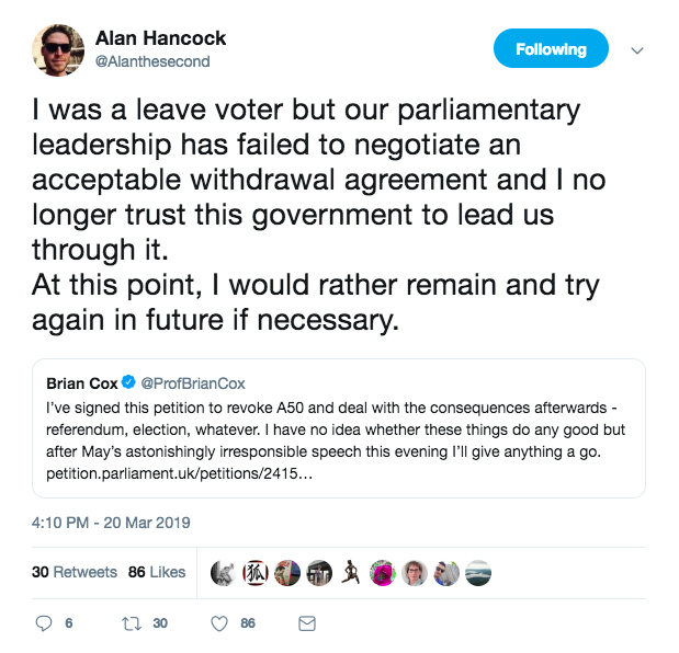 Alan Hancock's tweet about signing the Revoke Article 50 petition.