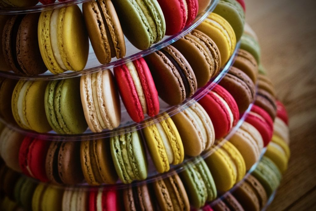 Colourful tower of macarons.