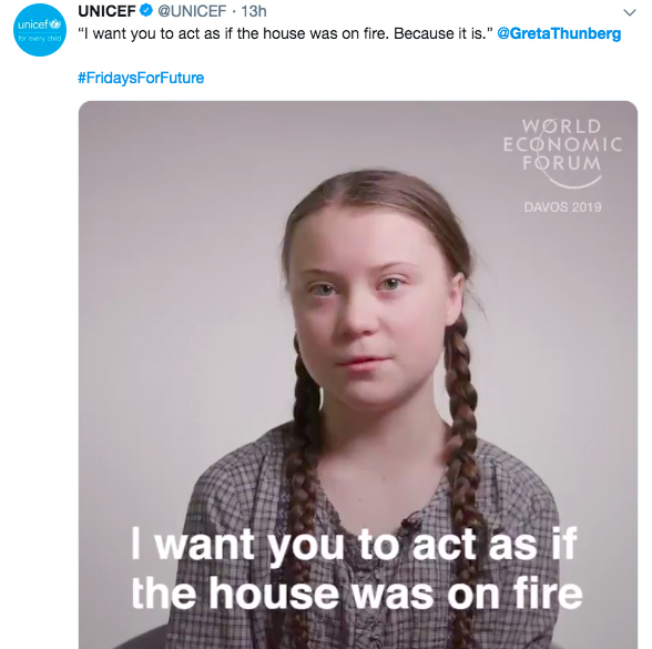 Unicef tweet with Greta Thunberg video