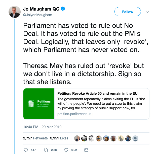Jo Maugham's tweet supporting the Revoke Article 50 petition.