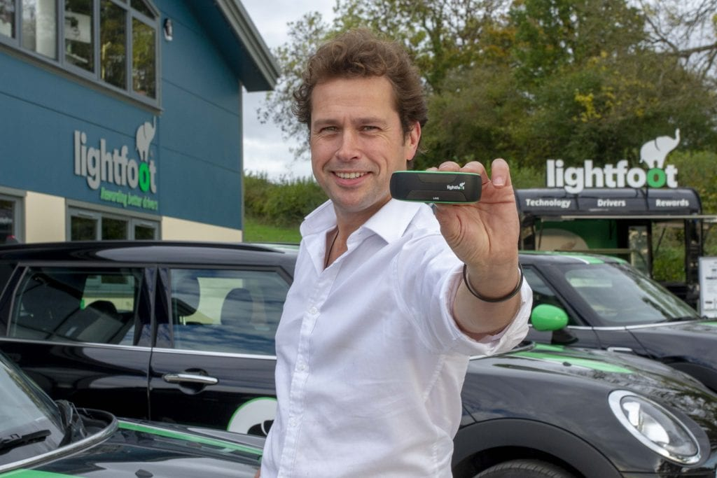 Lightfoot CEO Mark Roberts holds a Lightfoot to the camera