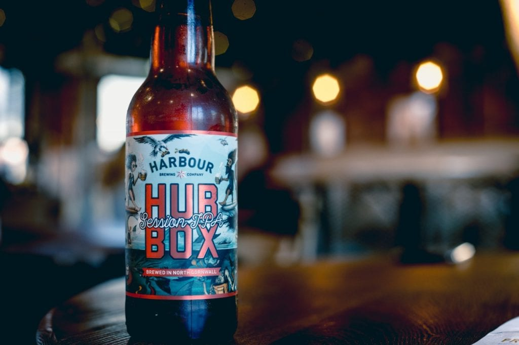 Hubbox Session IPA in a brown bottle.