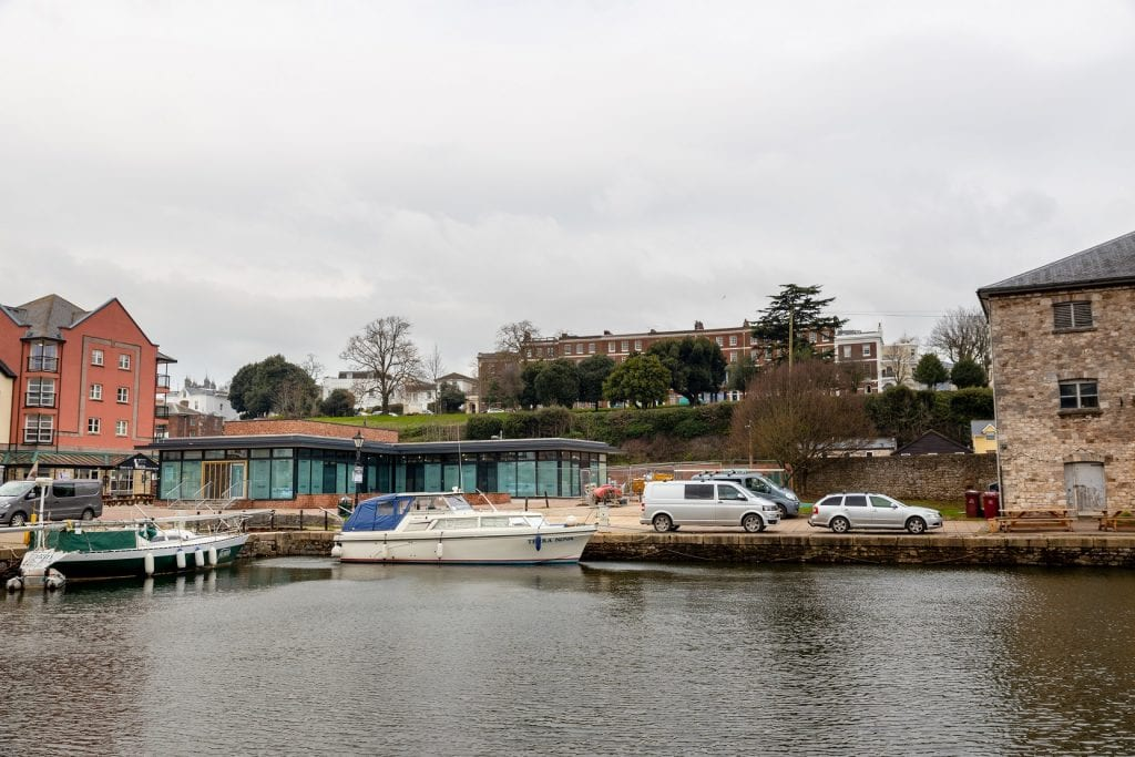 exterior of Rockfish Exeter overlooking Exeter Quay