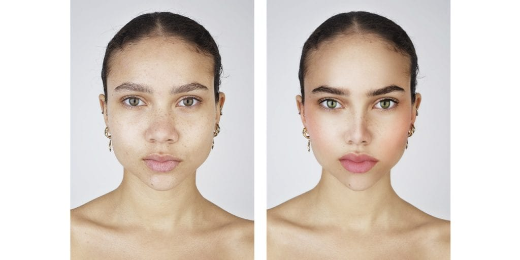 Selfie Harm comparison unedited dark skinned girl with edited make up and fuller lips