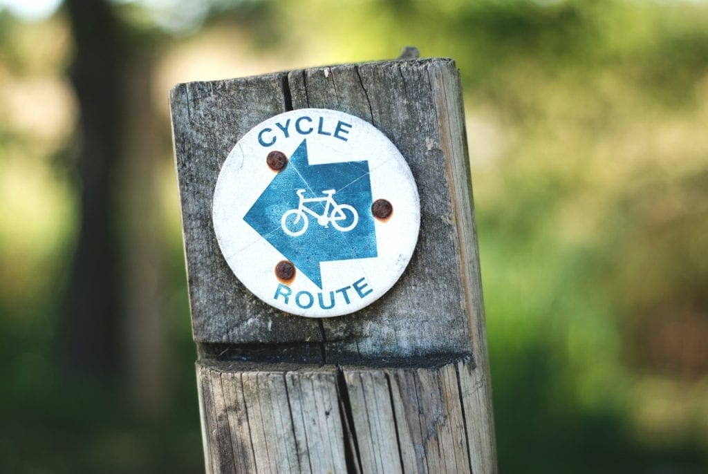Wooden signpost with blue and white cycle route sign.