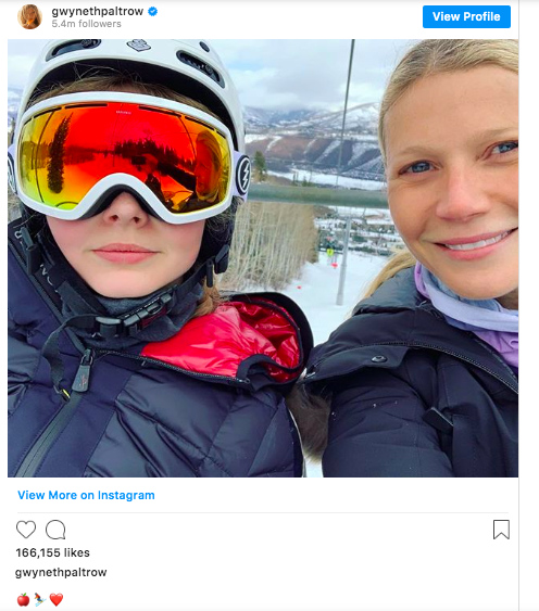 Example of sharenting: Instagram post of Gwyneth Paltrow with daughter Apple.