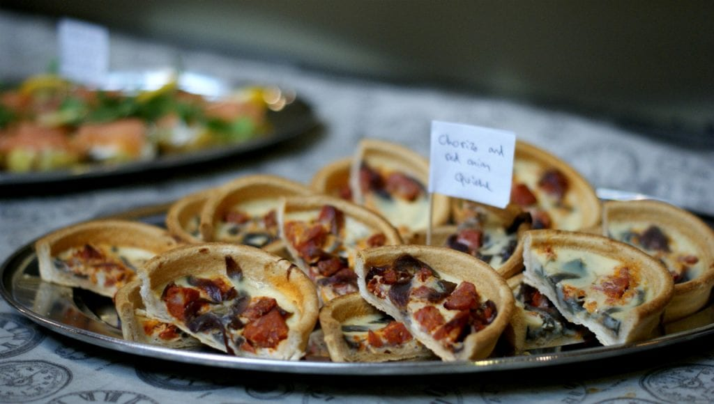 Chorizo and Red Onion Quiches at Age UK Exeter's Eat Together campaign