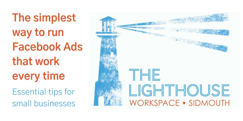 The Simplest way to run Facebook Ads with Lighthouse logo.