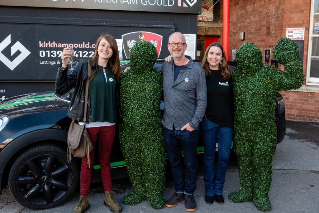 Hugging hedges at the Breathe Exeter initiative launch.