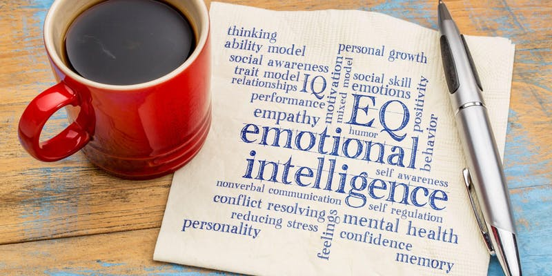 Emotional intelligence or eq written on a napkin.