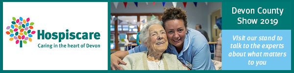 Hospiscare banner with carer and elderly lady.