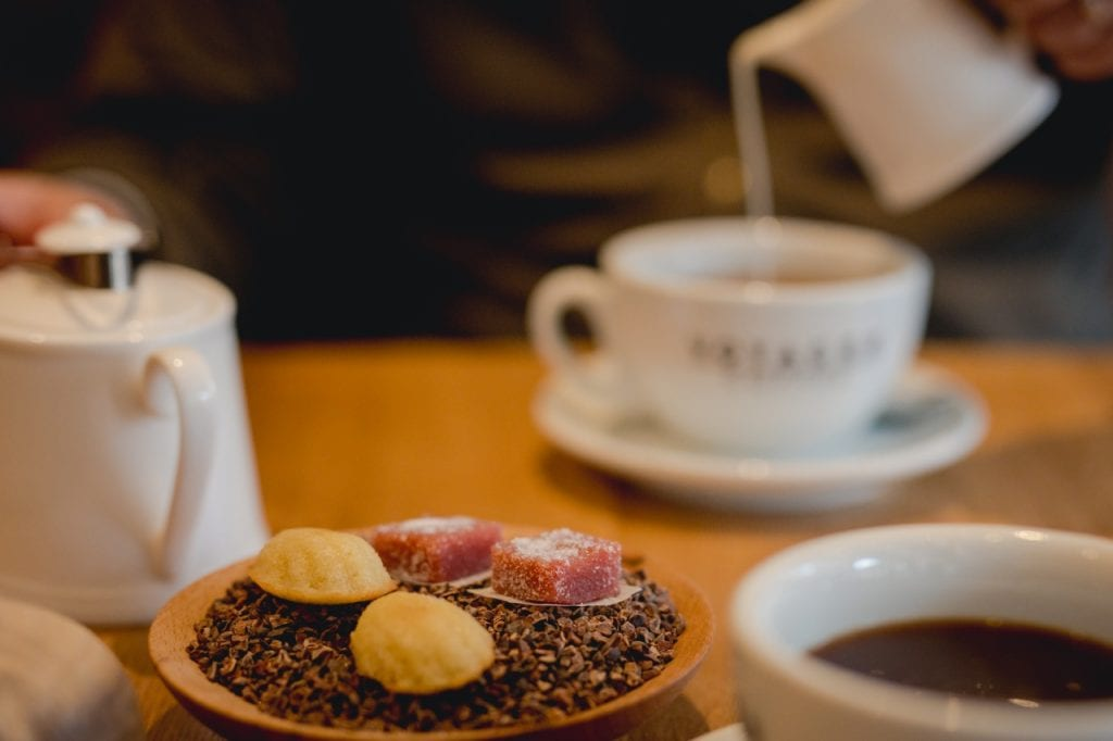Bite-sized Petit Fours with coffee