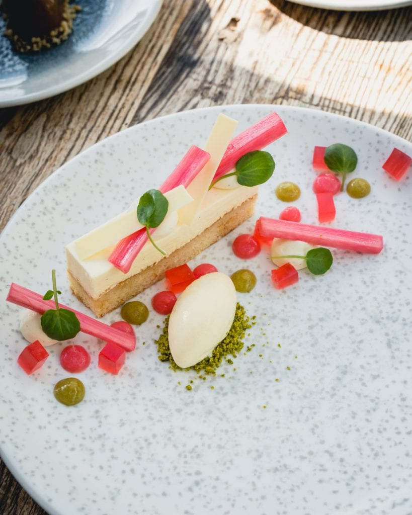 Rhubarb and White Chocolate Slice with Rhubarb Jelly at The Saluation Inn, Topsham