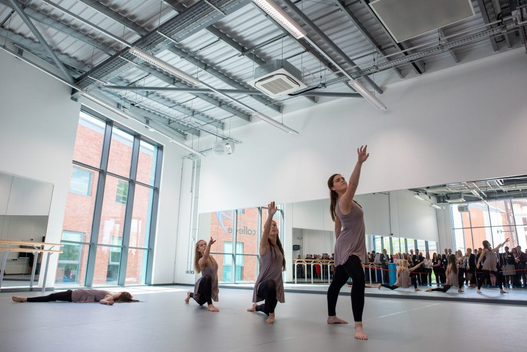 Dance performance in new dance studio at Exeter College