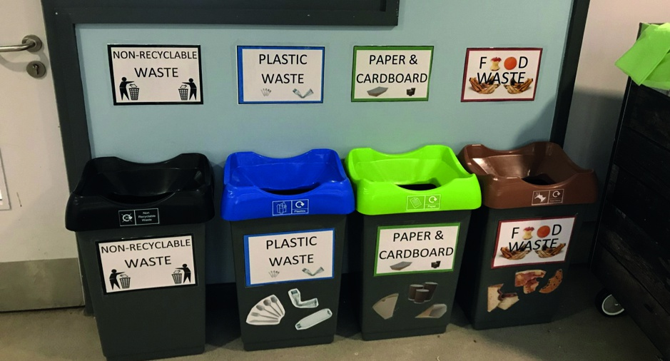 Recycling bins with colour coordinated tops