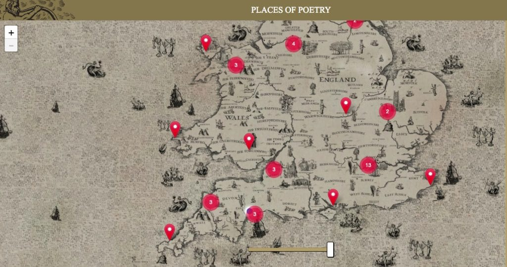 Digital map on Places of Poetry project website.