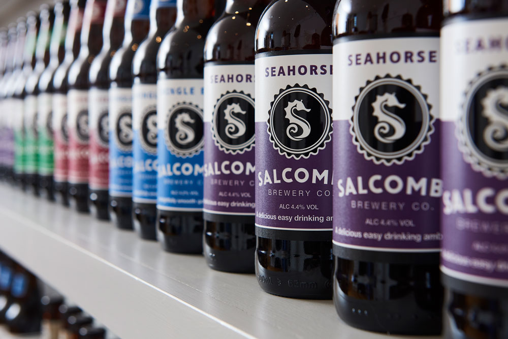 Salcombe Brewery beer bottles lined up