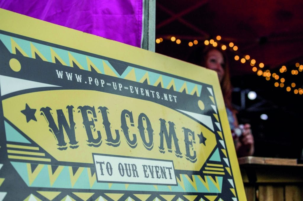 Pop-up Events sign