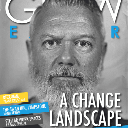 Man beard magazine front cover Grow june edition greyscale black white
