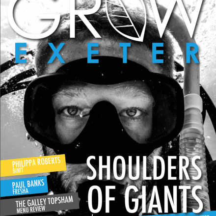 Man snorkel goggles water underwater diving Grow Exeter magazine front cover July 2019