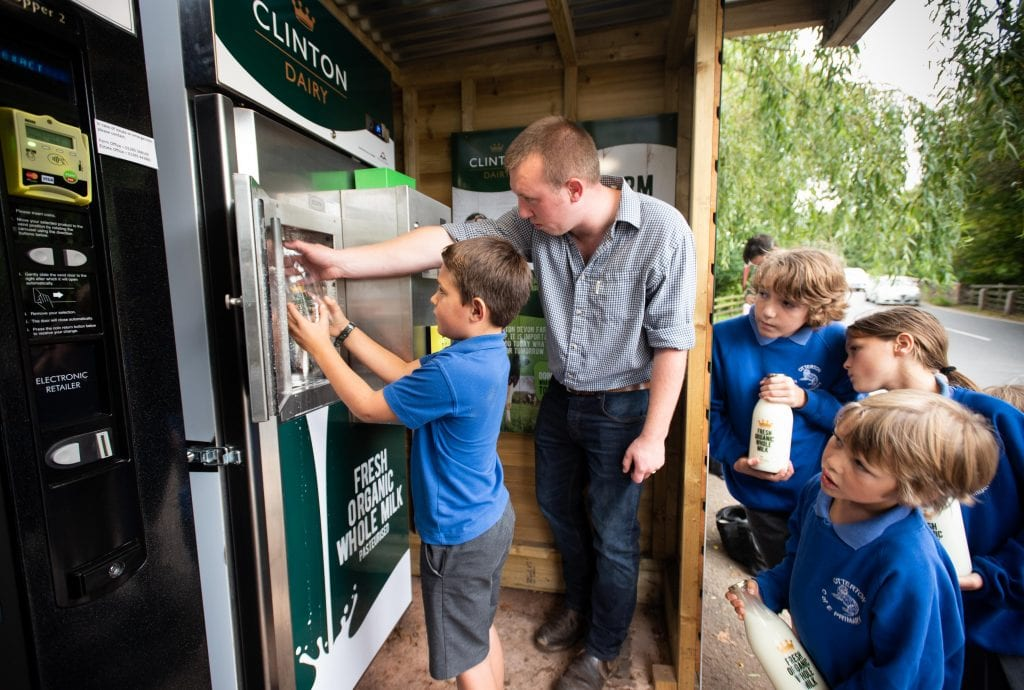 Child man milk vending machine