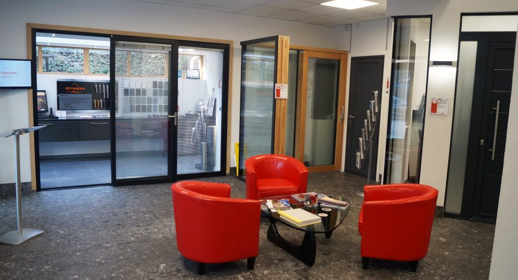 aspect windows show room red chairs