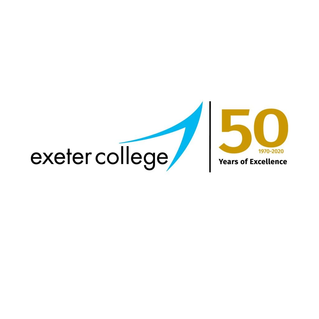 exeter college 50th anniversary logo two