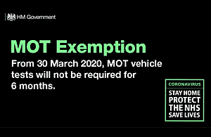 From 30 March 2020, MOT vehicle tests will not be required for 6 months.